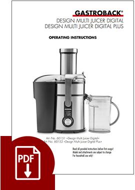 60152 - Design Multi Juicer Digital Plus - Operating Instructions