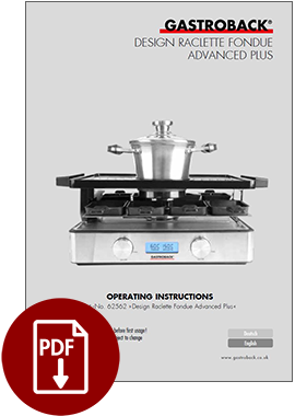 62562 - Design Raclette Fondue Advanced Plus - Operating_Instructions