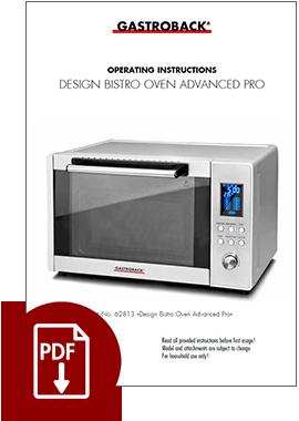 62813 - Design Bistro Ofen Advanced Pro - Operating Instructions