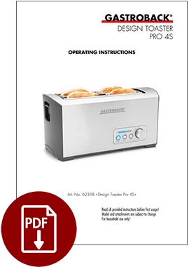 62398 - Design Toaster Pro 4S - Operating Instructions