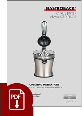 61150 - Citrus Juicer Advanced Pro S - Operating Instructions