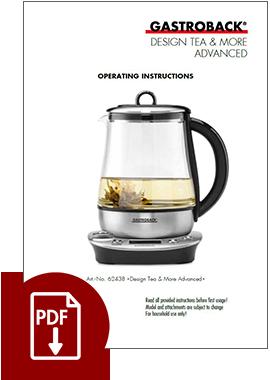 62438 - Design Tea & More Advanced - Operating Instructions