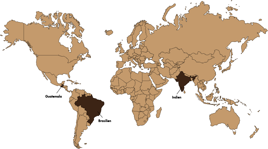 GASTROBACK® Speicherstadtkaffee_Weltkarte_Guatemala_Brasilien_Indien