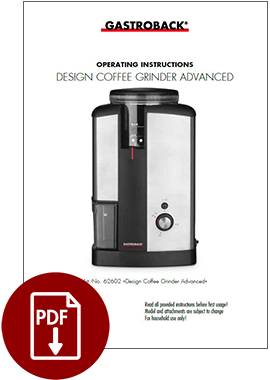 62602 - Design Coffee Grinder Advanced - Operating Instructions